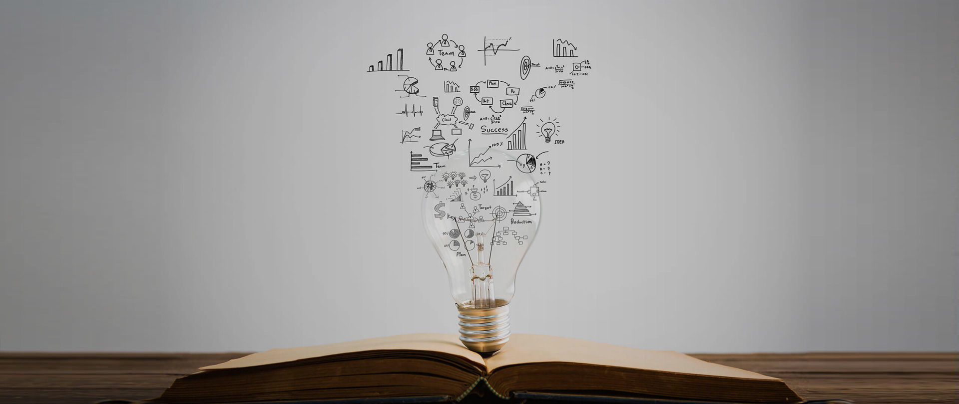 Research page banner with bulb atop a open book